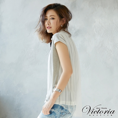 Victoria 異材質拼接長版落肩短袖T-女-麻灰