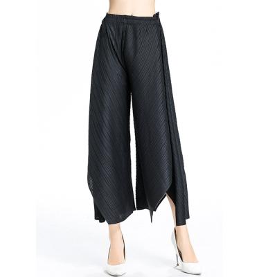 經典時尚黑不規則壓摺闊腿褲-糖潮