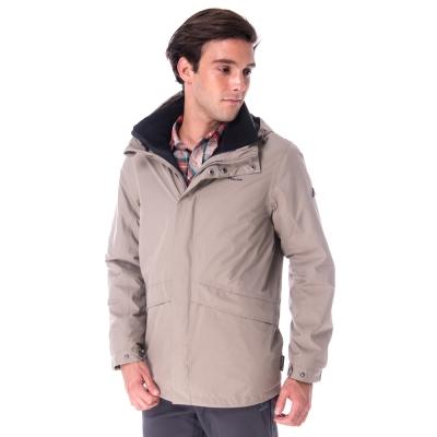 【hilltop山頂鳥】男款GoreTex兩件式防水刷毛短大衣H22MV1卡其