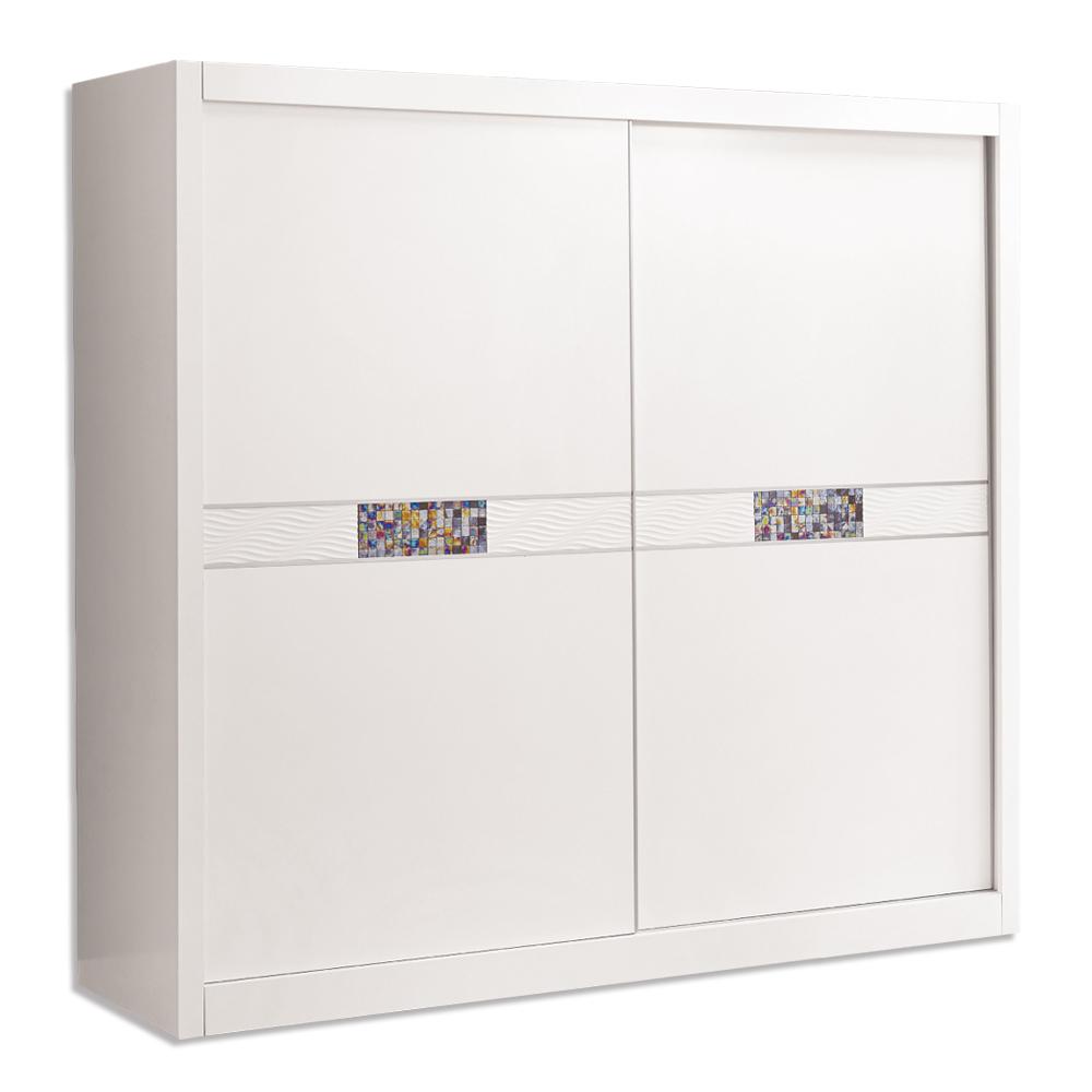 Bernice-羅克莎7尺白色推門/拉門衣櫃-210x60x199cm