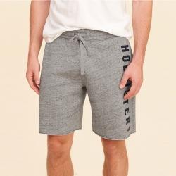 HCO Hollister 海鷗 經典刺繡海鷗文字短棉褲-灰色