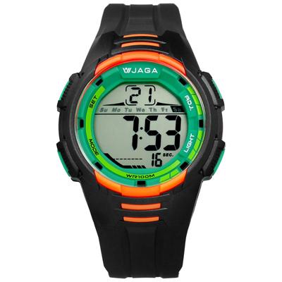 JAGA 捷卡 電子液晶冷光照明計時碼錶鬧鈴運動橡膠手錶-黑橘綠色/44mm