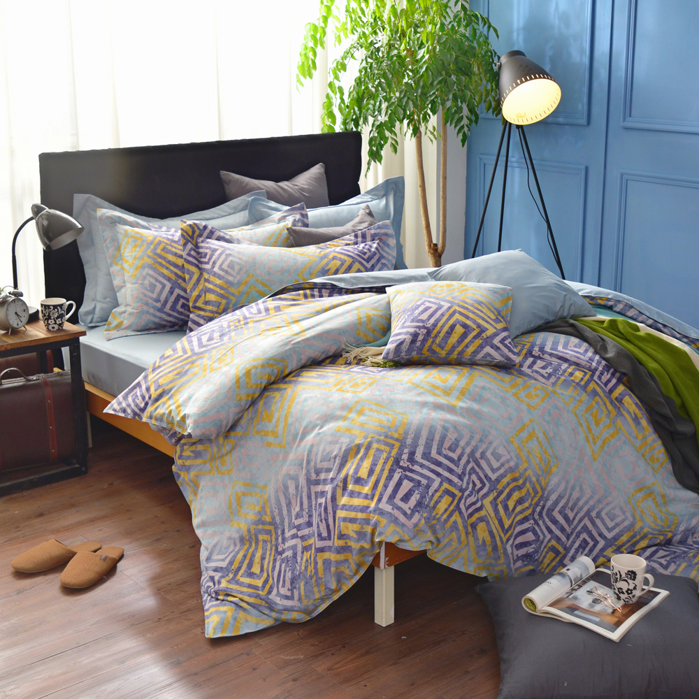 IN HOUSE-Island of Atla-200織精梳棉-兩用被床包組(藍色-雙人)