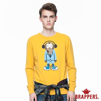 BRAPPERS 男款 Monkey圓領情侶T-芥黃藍猴