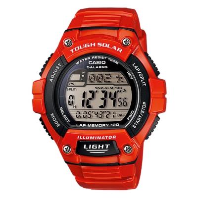 CASIO 潮流太陽能電子錶(W-S220C-4A)-紅/49mm