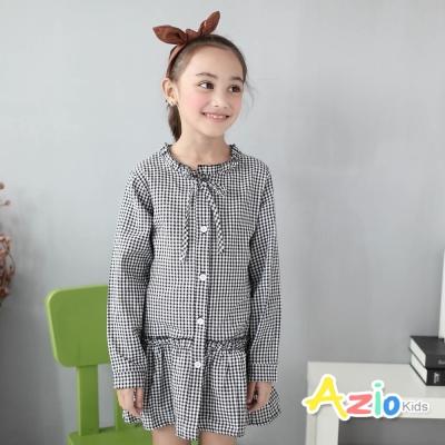 Azio Kids 童裝-上衣 花苞領小格紋縮腰長袖上衣(黑)