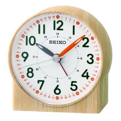 SEIKO 日本精工 滑動式秒針 靜音 鬧鐘(QHE168Y)-卡其/8.2X7.8cm