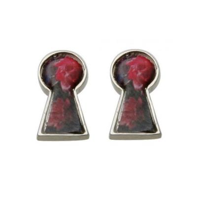 迪士尼 DISNEY COUTURE 魔鏡夢遊系列 鑰匙孔造型 玫瑰花銀色耳環