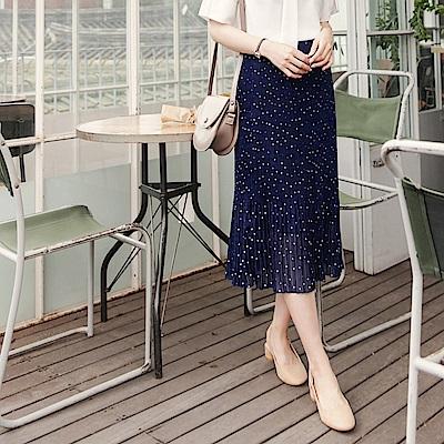 可愛點點圖案腰圍鬆緊百褶壓紋雪紡長裙.2色-OB大尺碼