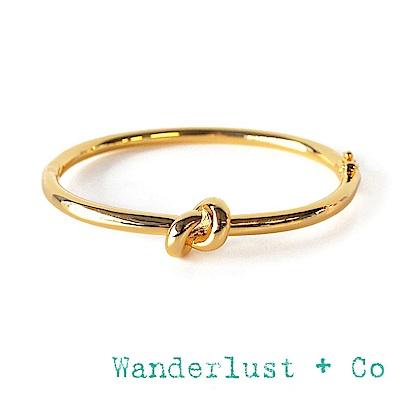 Wanderlust+Co 澳洲品牌 愛情雙環結手環 立體金色手環 KNOT BANGLE