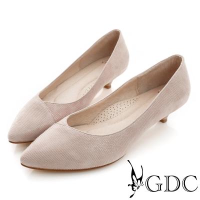 GDC-經典時尚細橫紋真皮尖頭低跟鞋-裸色