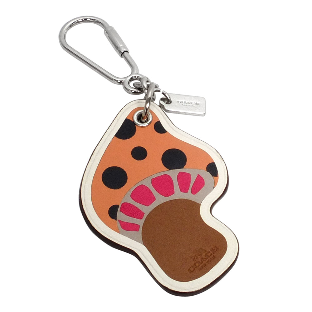 COACH粉橘全皮蘑菇掛飾馬蹄型扣環鑰匙圈