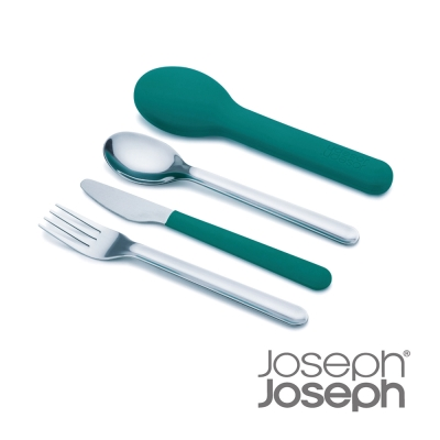 Joseph Joseph 翻轉不鏽鋼餐具組(藍綠色)