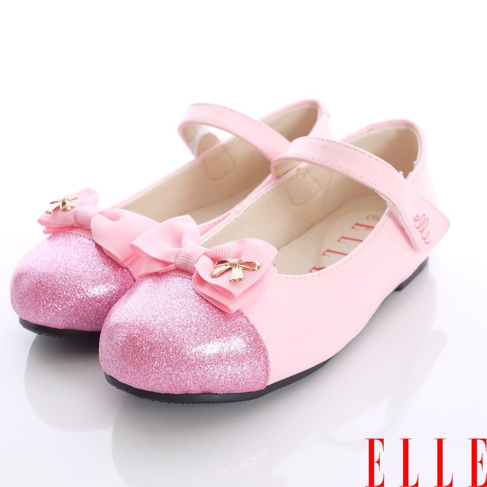 ELLE童鞋~晶亮蝴蝶結公主款-32723粉金(中童段)