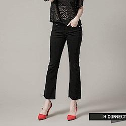 H:CONNECT 韓國品牌 女裝 - 破損流蘇修身直筒褲-黑(快)