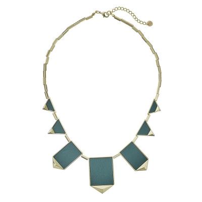 House of Harlow 1960 立體金字塔飾邊 三角幾何金項鍊 墨綠色皮革
