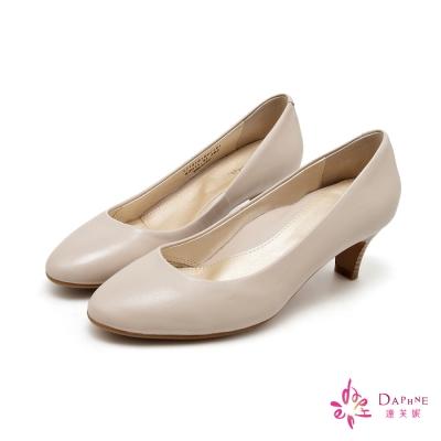 達芙妮DAPHNE-OL必勝素面真皮木紋高跟鞋-古典米