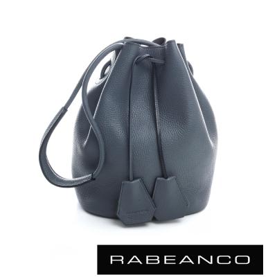 RABEANCO 真皮經典束口水桶包 暗灰藍