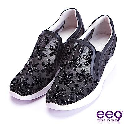 ee9 經典手工電繡鑲嵌水鑽內增高休閒鞋 黑色