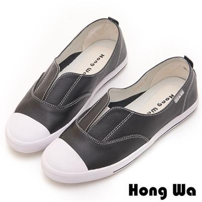 Hong Wa 率性簡約V字開口牛皮休閒鞋 - 黑