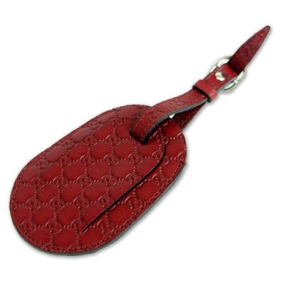 GUCCI 經典緹花壓紋皮革行李吊牌/吊飾(紅)