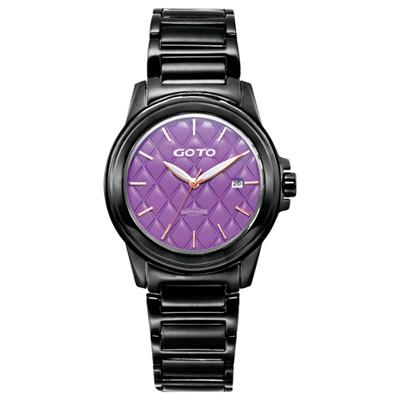 GOTO 法式時尚菱紋時尚腕錶-紫x黑/42mm