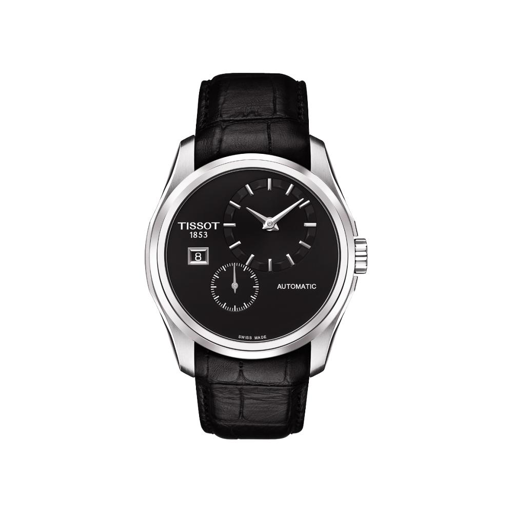 TISSOT Couturier建構師偏心系列機械皮帶腕錶-黑39mm