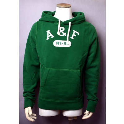 A&F Abercrombie & Fitch刺繡仿舊LOGO內刷毛帽T-綠