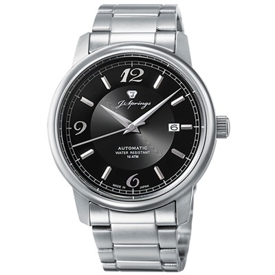 J.SPRINGS-J Classic Mechanical不鏽鋼機械錶-銀/黑-43mm