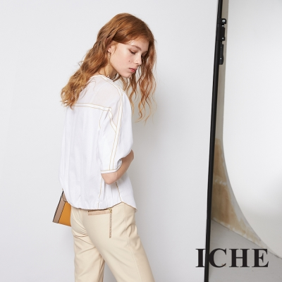 ICHE 衣哲 時尚滾邊拼接百搭短版微寬造型上衣