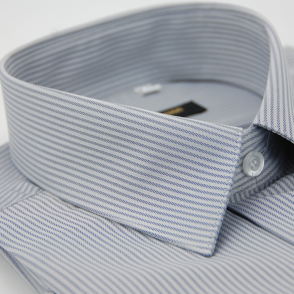 金‧安德森 灰色窄版類絲質吸排長袖襯衫fast