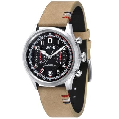 AVI-8 飛行錶 FLYBOY 飛行男孩潮流手錶-黑x卡其色/42mm