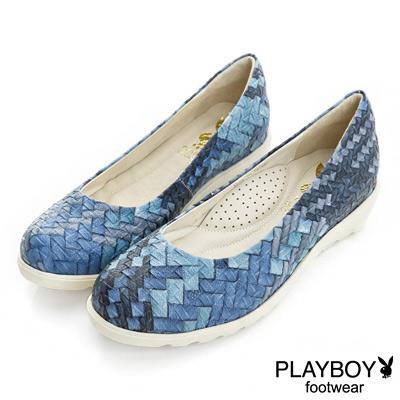 PLAYBOY 復古風采 編織壓紋厚底娃娃鞋-藍(女)
