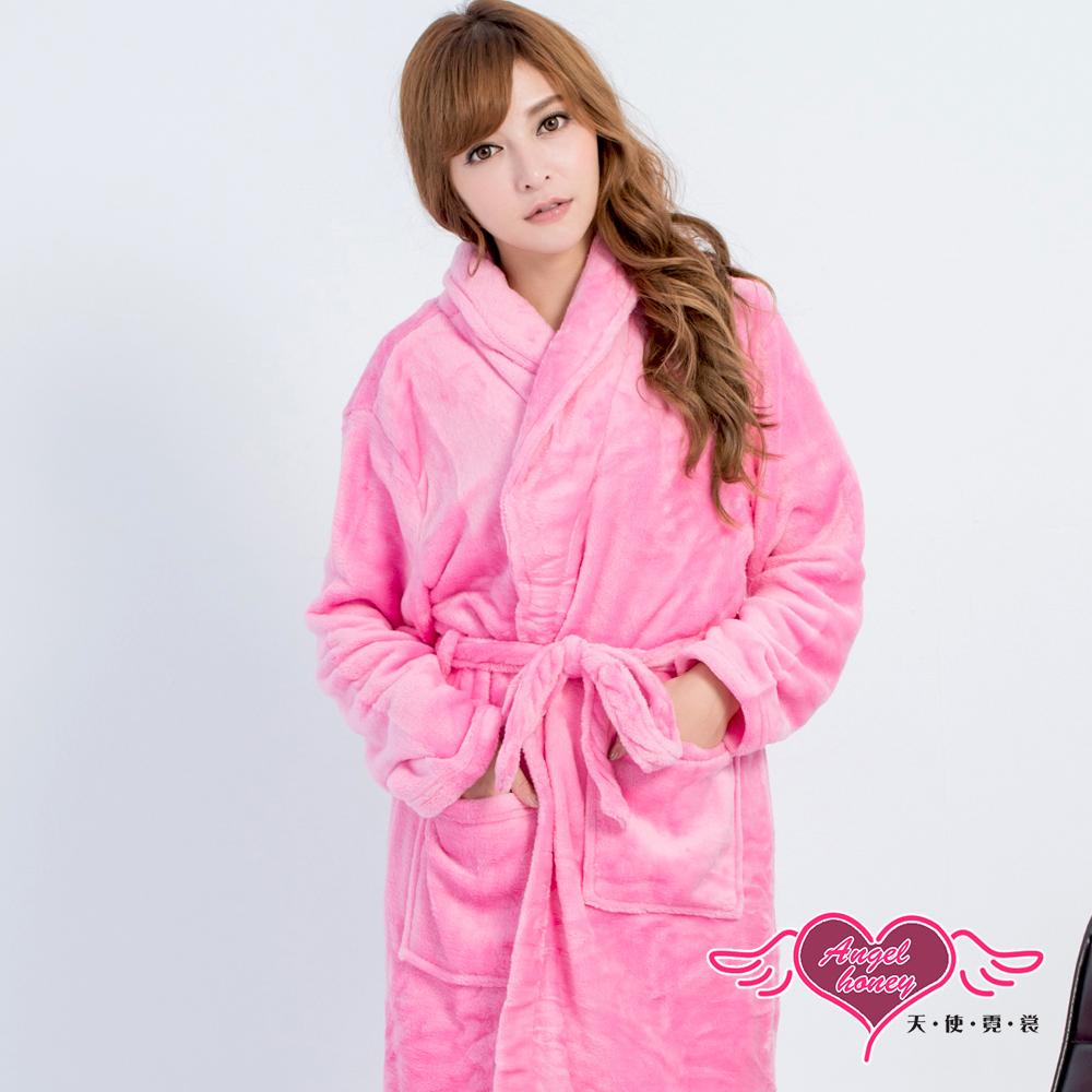 保暖睡袍 暖冬愛戀 柔軟法蘭絨一件式綁帶連身睡衣(深粉F) AngelHoney天使霓裳