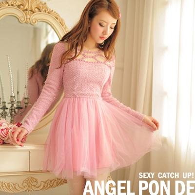 【天使波堤】夢幻公主‧花朵簍空針織拼接網紗裙洋裝(嫩粉)