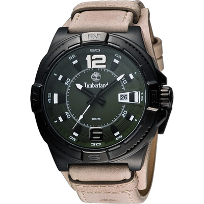 Timberland PENACOOK 霸氣型男腕錶-綠x駝色/46mm