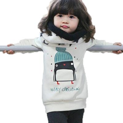 毛帽企鵝長版圓領長袖上衣-白-k60211