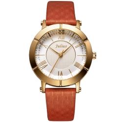 JULIUS聚利時 華麗冒險立體鏡面設計腕錶-棕色/33mm