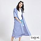 SOMETHING 渡假風長版開襟罩衫-女-藍色