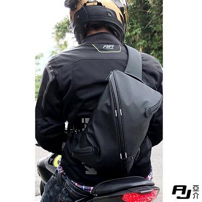 AJ.亞介 防潑水單肩胸掛包 重機包 騎士包 黑色