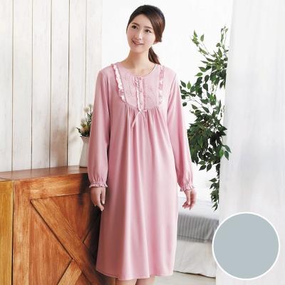 華歌爾 咖啡炭 居家休閒 M-L 長袖睡衣裙裝(藍)-舒適睡衣-居家保暖