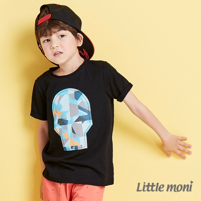 Little moni 幾合骷髏頭印圖短袖棉T-黑色