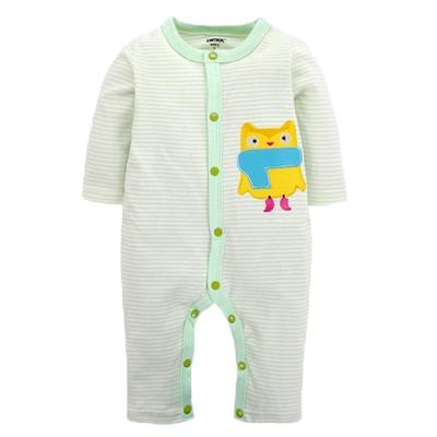 純棉條紋長袖連身衣 綠 k60251