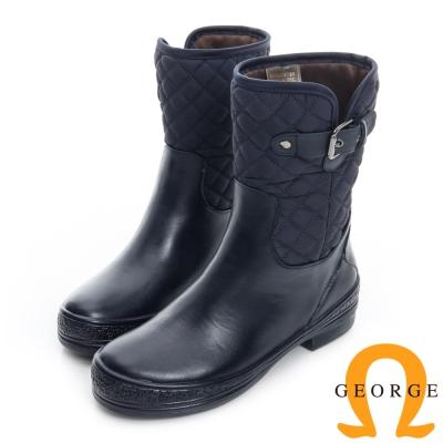 GEORGE 喬治-側皮帶菱格紋中筒雨靴-藍色