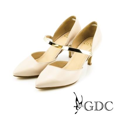 GDC-都會時尚金屬質感扣帶真皮尖頭高跟鞋-粉色