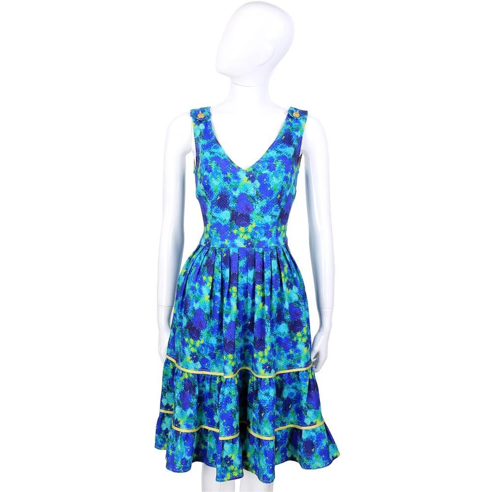 CLASS roberto cavalli 藍色彩繪渲染V領無袖洋裝
