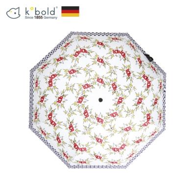 德國kobold酷波德 BOB時尚 超輕巧抗UV防曬三折傘-紅白映襯
