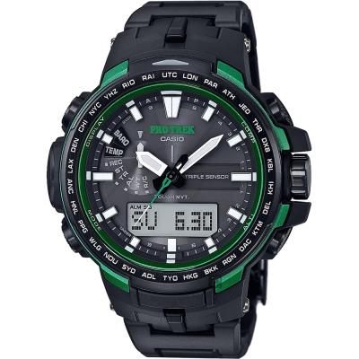 CASIO 卡西歐 PRO TREK 專業登山太陽能電波手錶-綠/ 58 mm