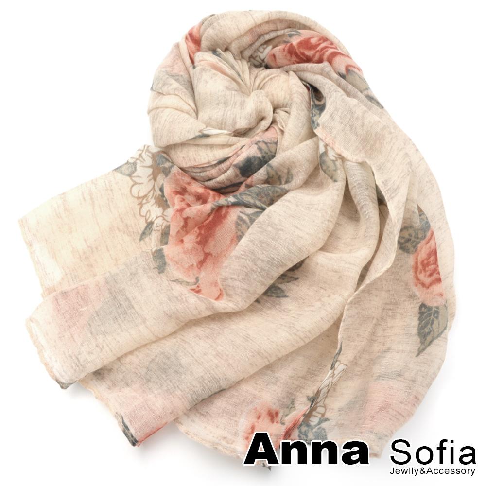 【2件450】AnnaSofia 玫瑰細絮 巴黎紗披肩圍巾(粉底紅花系)