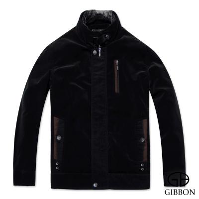 GIBBON 優雅質感仿絨條紋禦寒外套‧玄黑